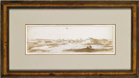 view of the town of ham and its surrounding landscape with anglers in the forground by jan peeters the elder