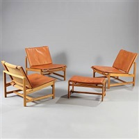 easy chairs with matching stool (model hk-13 and hk-12a) (set of 4) by arne karlsen and peter hjorth