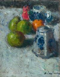 stillleben mit früchten, kanne und tasse by alexej jawlensky