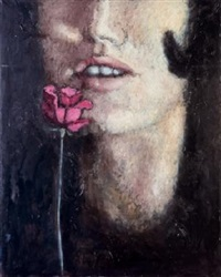 mujer con rosa by luis eduardo aute