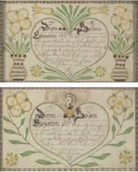 birth and baptismal certificates for johan and joseph guthmacher (pair, one 1819) by american school_pennsylvania (19)