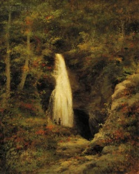 woodland waterfall by george frank higgins