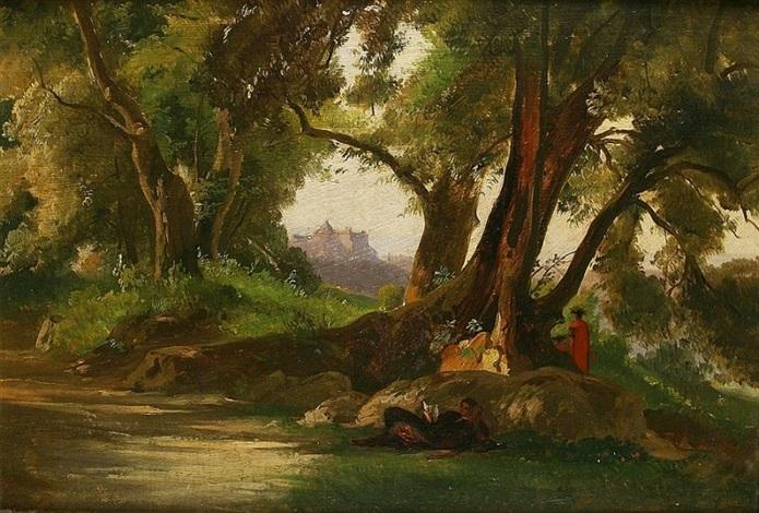 rastender in romantischer landschaft by oswald achenbach