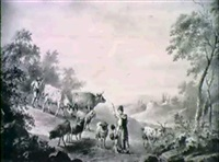 bergers et troupeau, sur une route by franciscus xavery