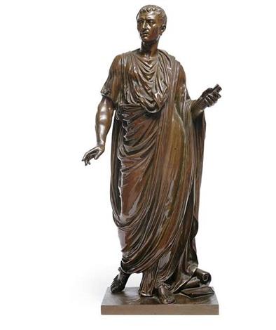 statuette eines römischen gelehrten by mathurin moreau