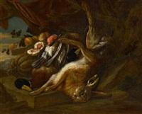 jagdstillleben mit erlegtem hasen und enten by adriaen de gryef