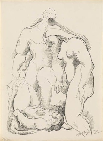 three figures one in repose from der ararat series by alexander archipenko