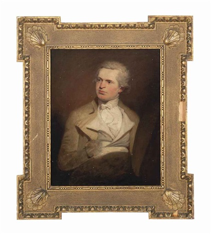 self portrait of an artist said to be samuel de wilde seated in a buff coat with a white waistcoat and a white cravat by samuel de wilde