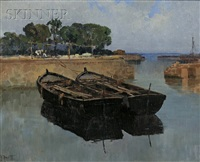 moored barges by filippo anivitti