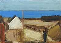 coastal scenery with a house and a person by johannes hofmeister