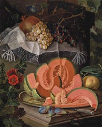 a melon on a pewter platter, figs and an apple on a ledge, with grapes and a pomegranate by maximilian pfeiler