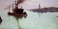 desembocadura con carguero by josé gartner de la peña