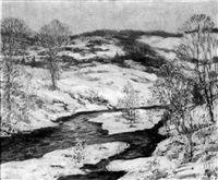 connecticut winter landscape with stream by parker newton