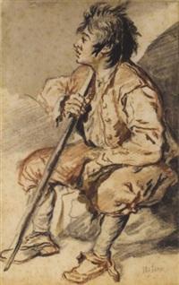 jeune garçon assis tourné vers la gauche tenant un bâton by jacques-andré portail