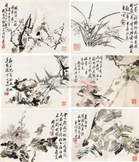 花鸟 (flowers and birds) (album w/8 works) by liu xiling