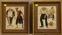 framed paris costume designs (2 works) by alexis paul arapov