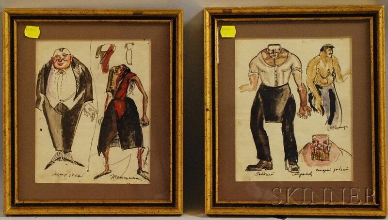 framed paris costume designs 2 works by alexis paul arapov