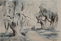 figures on a tree-lined lane by alfred heber hutty