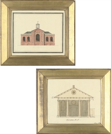 front elevation for the church of st paul covent garden front elevation for st giles chapel st pancras pair by henry bailey