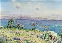 calabria and straits of messina from taormina by ernest arthur rowe