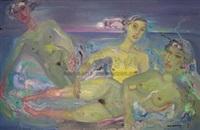 珀丽湾的三位裸泳少女 by deng jianjin