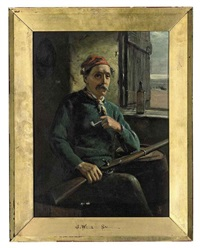 fisherman seated by a window by john wells smith