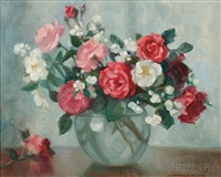 roses in a glass globe by marguerite stuber pearson