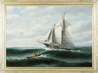 fishermen and fishing schooner at sea by theodore victor carl valenkamph