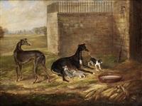 greyhound bitch with puppies by william webb