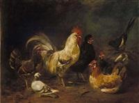 hühnerhof mit taube und elster by franz von lenbach and johann baptist hofner