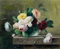 bouquet de roses sur un entablement by arthur chaplin