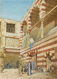 courtyard of a house, cairo by richard phene spiers