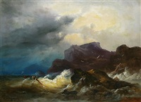 schiffbruch vor der felsenküste by andreas achenbach