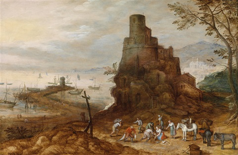 küstenlandschaft mit dem scipionengrab by jan brueghel the younger