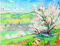 view of apple orchard (+ another, similar; 2 works) by john dana bashian