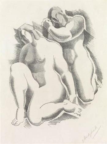 female nudes from dritte jahresgabe des kreises graphischer künstler und sammler by alexander archipenko