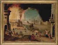 aeneas rescuing his father anchises from the burning city of troy by jakob isaacsz swanenburgh