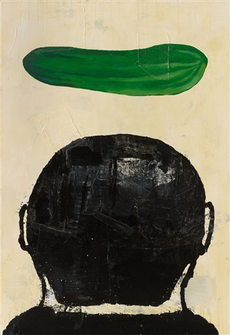 untitled composition with cucumber by donald baechler