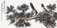 苍松长青,双喜临门 镜片 设色纸本 by ji yansun