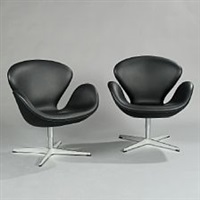 the swan chairs (pair) by arne jacobsen