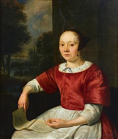 jeune femme à la partition by pieter cornelisz van slingeland