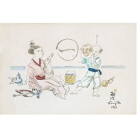 spielende kinder by léonard tsuguharu foujita