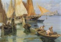 fischende kinder in der lagune von venedig by angelo brombo