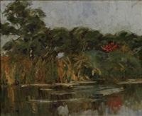 river scene by clément (joseph charles louis) sénèque