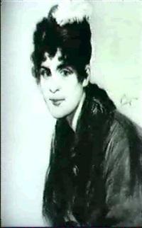 portrait einer dame mit turkiser feder im haar by friedrich ernst wolfrom