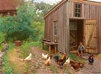 gårdstun med høner by karl kristian uchermann