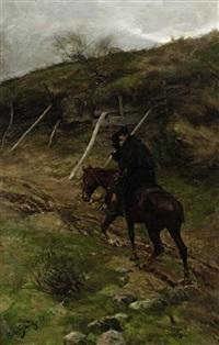 einsamer reiter mit schwarzem umhang by robert von haug