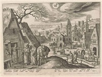 the months of the year, with scenes from the life of christ (set of 12) (after adriaen collaert) by hans bol