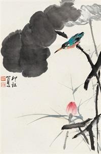 荷花翠鸟 立轴 设色纸本 by xiao lang
