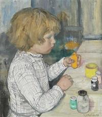 enfant expérimentant avec de la peinture by paul smolders